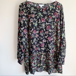 J Jill Long Sleeve Dark Floral Career Blouse